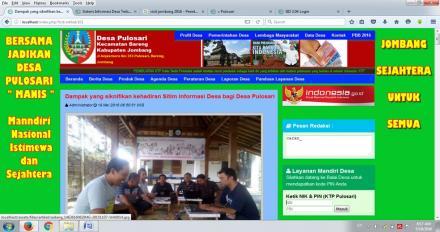 Dampak yang signifikan kehadiran Sitim Informasi Desa bagi Desa Pulosari