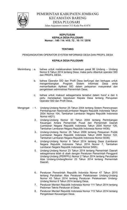 Contoh Sk Operator Sid Jombang Pulosari